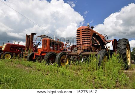 Three old tractors are parked in the weeds of a salvage and junkyard