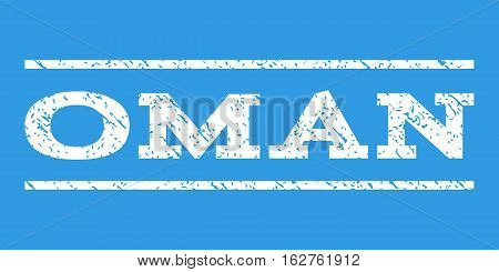 Oman watermark stamp. Text tag between horizontal parallel lines with grunge design style. Rubber seal stamp with unclean texture. Vector white color ink imprint on a blue background.