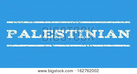 Palestinian watermark stamp. Text caption between horizontal parallel lines with grunge design style. Rubber seal stamp with dirty texture. Vector white color ink imprint on a blue background.