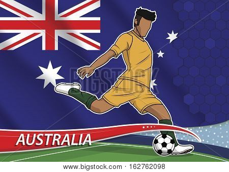 Vector illustration of football player shooting on goal. Soccer team player in uniform with state national flag of australia.