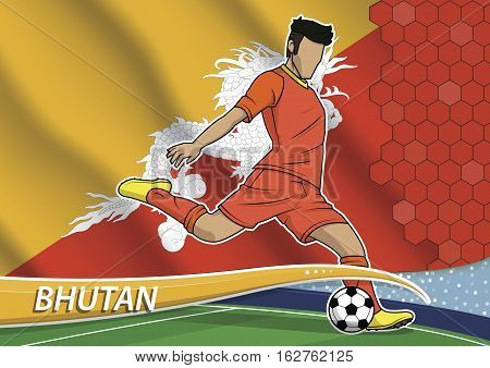 Vector illustration of football player shooting on goal. Soccer team player in uniform with state national flag of bhutan.