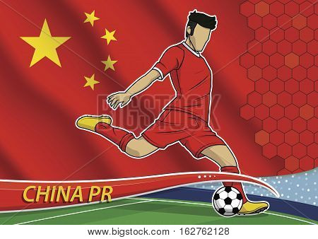 Vector illustration of football player shooting on goal. Soccer team player in uniform with state national flag of china.