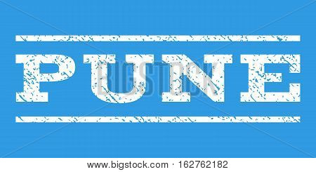 Pune watermark stamp. Text caption between horizontal parallel lines with grunge design style. Rubber seal stamp with dust texture. Vector white color ink imprint on a blue background.