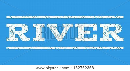 River watermark stamp. Text tag between horizontal parallel lines with grunge design style. Rubber seal stamp with scratched texture. Vector white color ink imprint on a blue background.