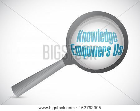 Knowledge Empowers Us Magnify Glass Sign Concept