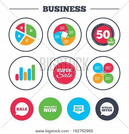 Business pie chart. Growth graph. Sale icons. Special offer speech bubbles symbols. Buy now arrow shopping signs. Available now. Super sale and discount buttons. Vector