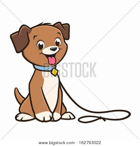 Vector cartoon cute puppy in a leash