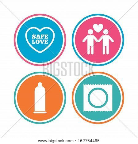 Condom safe sex icons. Lovers Gay couple signs. Male love male. Heart symbol. Colored circle buttons. Vector