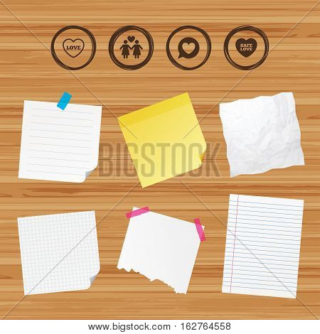 Business paper banners with notes. Lesbians couple sign. Speech bubble with heart icon. Female love female. Heart symbol. Sticky colorful tape. Vector