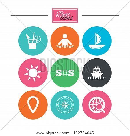 Cruise trip, ship and yacht icons. Travel, cocktail and sun signs. Sos, windrose compass and swimming symbols. Colorful flat buttons with icons. Vector