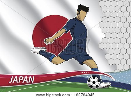 Vector illustration of football player shooting on goal. Soccer team player in uniform with state national flag of japan.
