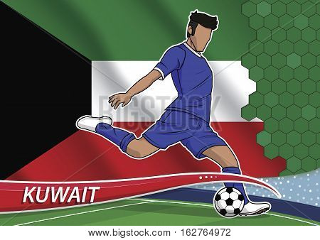 Vector illustration of football player shooting on goal. Soccer team player in uniform with state national flag of kuwait.