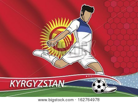 Vector illustration of football player shooting on goal. Soccer team player in uniform with state national flag of kyrgyzstan.
