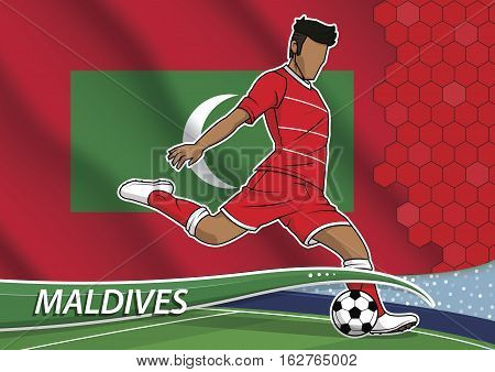 Vector illustration of football player shooting on goal. Soccer team player in uniform with state national flag of maldives.