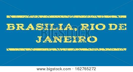 Brasilia, Rio De Janeiro watermark stamp. Text tag between horizontal parallel lines with grunge design style. Rubber seal stamp with dust texture.