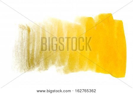 Yellow watercolor background. The gradient transition of color from rich yellow to light yellow. Design elements. Painting. Grunge colorful background on watercolor paper.