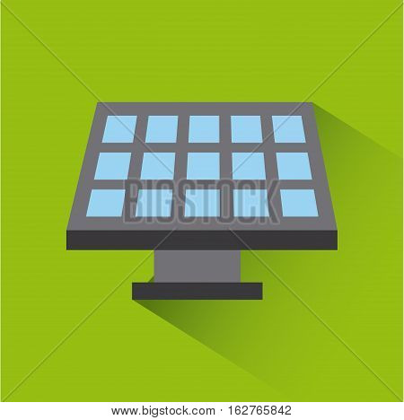 solar panel icon over green background. colorful design. vector illustration