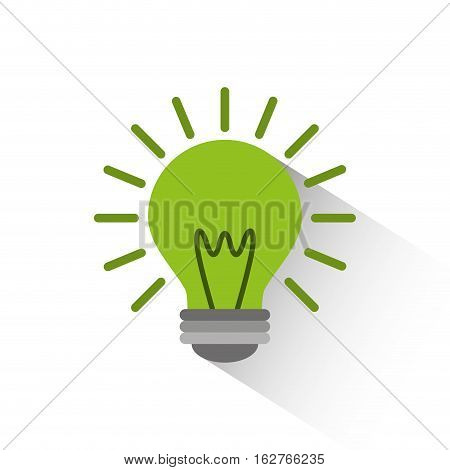 green bulb light icon over white background. colorful design. vector illustration