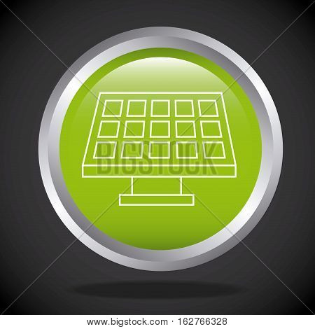 button with solar panel icon over black background. colorful design. vector illustration