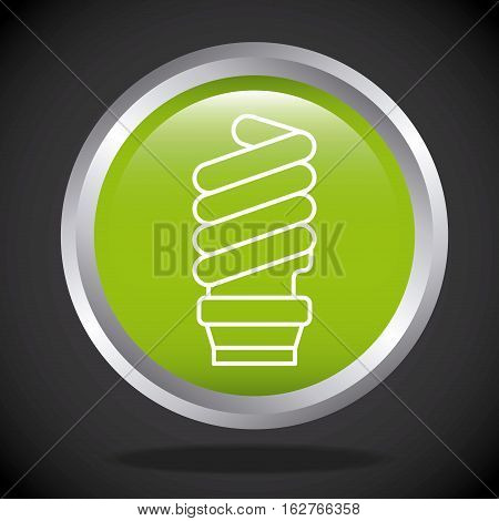 button with green bulb light icon over black background. colorful design. vector illustration