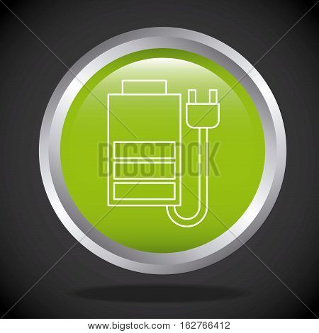 button with battery and plug icon over black background. colorful design. vector illustration