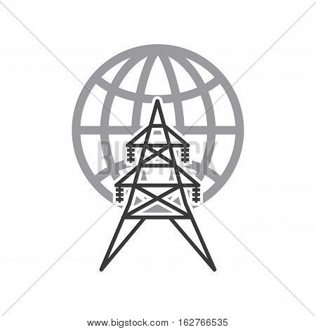 earth sphere and energy tower structure icon over white background. vector illustration