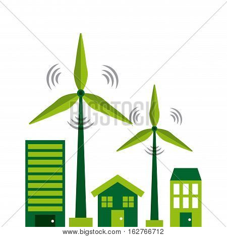 wind turbines and house and buildings icons over white background. colorful design. vector illustration