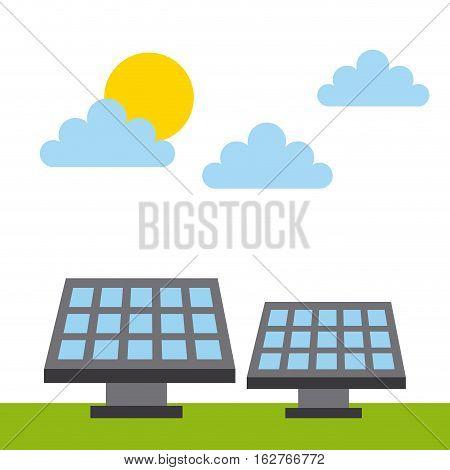 solar panel icon over white background. colorful design. vector illustration