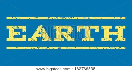 Earth watermark stamp. Text caption between horizontal parallel lines with grunge design style. Rubber seal stamp with unclean texture. Vector yellow color ink imprint on a blue background.