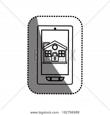 House and padlock inside smartphone icon. Insurance security protection and safety theme. Isolated design. Vector illustration