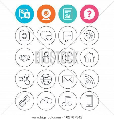 Social media icons. Speech bubble, lovers relationships and human person. Rss, share and mail envelope. Musical note, smartphone and smile. Report document, question and answer icons. Web camera sign