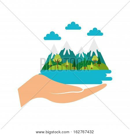 hand with mountains landscape icon over white background. colorful design. vector illustration