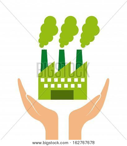 hands with green factory icon over white background. colorful design. vector illustration