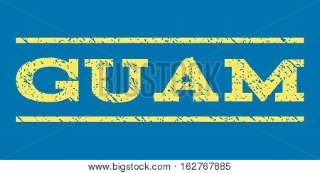 Guam watermark stamp. Text caption between horizontal parallel lines with grunge design style. Rubber seal stamp with unclean texture. Vector yellow color ink imprint on a blue background.