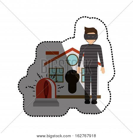 House alarm and thief icon. Insurance security protection and safety theme. Isolated design. Vector illustration