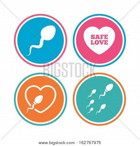 Sperm icons. Fertilization or insemination signs. Safe love heart symbol. Colored circle buttons. Vector