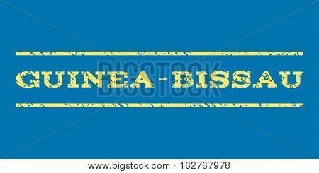 Guinea-Bissau watermark stamp. Text tag between horizontal parallel lines with grunge design style. Rubber seal stamp with dirty texture. Vector yellow color ink imprint on a blue background.