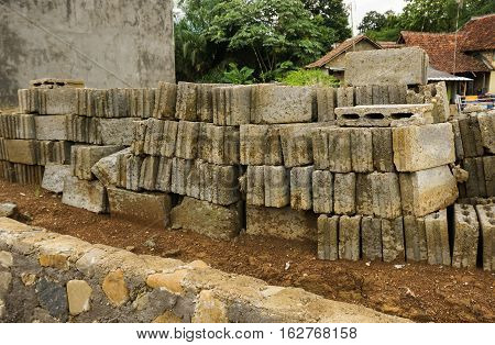 Bricks and rocks as materials for construction photo taken in Bogor Indonesia java