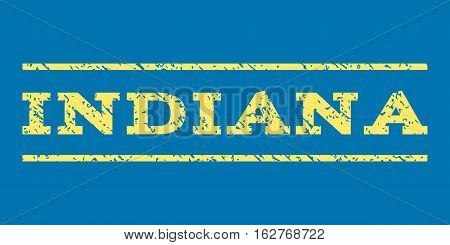 Indiana watermark stamp. Text caption between horizontal parallel lines with grunge design style. Rubber seal stamp with scratched texture. Vector yellow color ink imprint on a blue background.