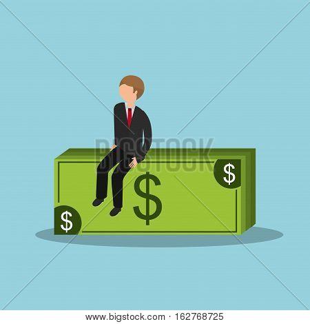businessman sitting on money bills icon over blue background. colorful design. vector illustration