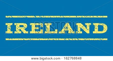 Ireland watermark stamp. Text caption between horizontal parallel lines with grunge design style. Rubber seal stamp with unclean texture. Vector yellow color ink imprint on a blue background.