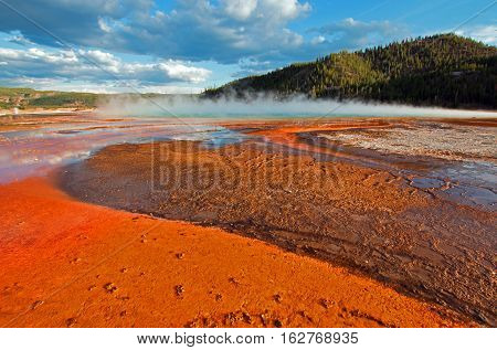 The Grand Prismatic Spring in the Midway Geyser Basin along the Firehole River in Yellowstone National Park in Wyoming USA
