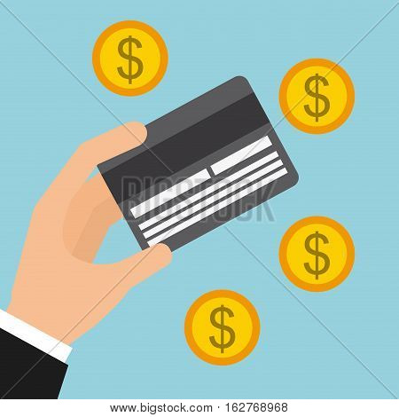 hand with credit card and gold coins over blue background. colorful design. vector illustration