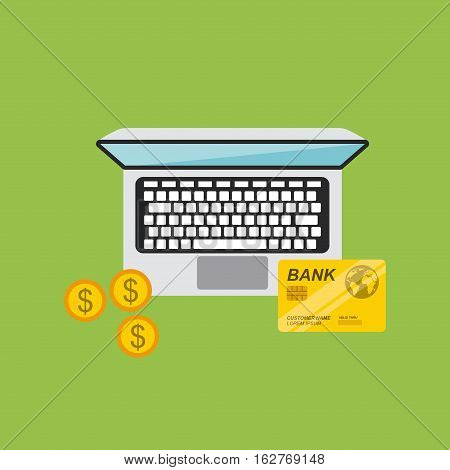 laptop computer with credit card and gold coins icon over green background. top view. colorful design. vector illustration