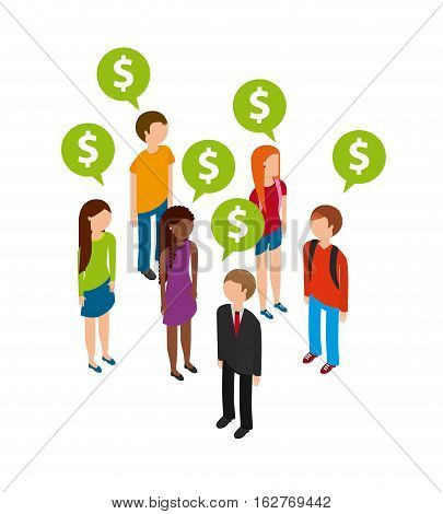 people standing with speech bubbles with money icon over white background. colorful design. vector illustration