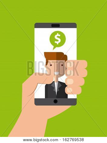hand holding a smartphone device with business man with speech bubble with money sign on screen over green background. colorful design. vector illustration