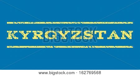Kyrgyzstan watermark stamp. Text tag between horizontal parallel lines with grunge design style. Rubber seal stamp with dust texture. Vector yellow color ink imprint on a blue background.