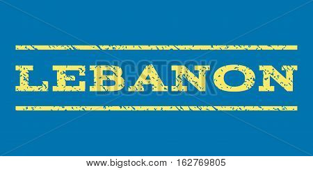 Lebanon watermark stamp. Text caption between horizontal parallel lines with grunge design style. Rubber seal stamp with unclean texture. Vector yellow color ink imprint on a blue background.