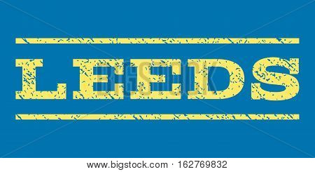 Leeds watermark stamp. Text tag between horizontal parallel lines with grunge design style. Rubber seal stamp with unclean texture. Vector yellow color ink imprint on a blue background.