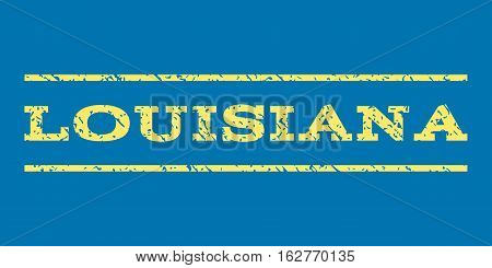 Louisiana watermark stamp. Text caption between horizontal parallel lines with grunge design style. Rubber seal stamp with dirty texture. Vector yellow color ink imprint on a blue background.